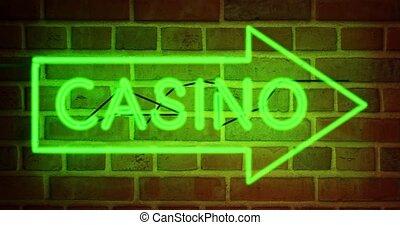 nevada, neon, kasyno, tekst, albo, jarzący się, znak, -, las, 4k, vegas