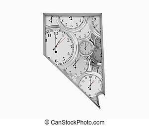 Nevada NV Clock Time Passing Forward Future 3d Illustration