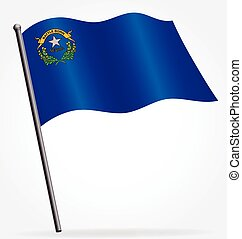 nevada nv state flag waving on flagpole vector