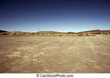 Nevada Outback Theme. Dusty Desert Parking. Nevada, USA