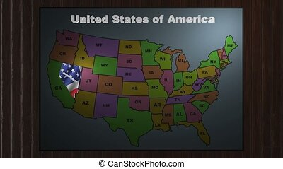 Nevada pull out from USA states abbreviations map - State...