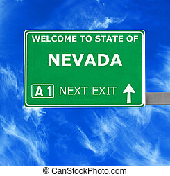 NEVADA road sign against clear blue sky