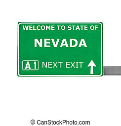 NEVADA road sign isolated on white