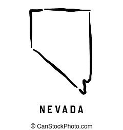 Nevada simple logo. State map outline - smooth simplified US...