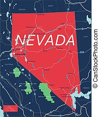 Nevada state detailed editable map