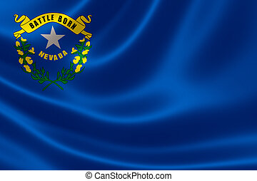 3D rendering of the flag of Nevada on satin texture.