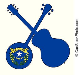 Nevada State Flag Banjo And Guitar Silhouette