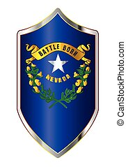 Nevada State Flag On A Crusader Style Shield
