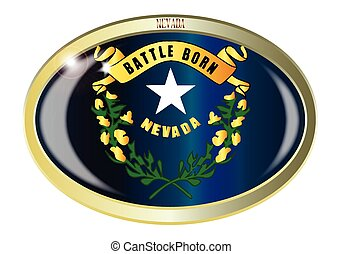 Nevada State Flag Oval Button