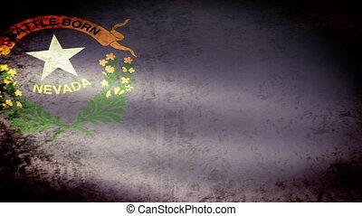 Nevada State Flag Waving, grunge