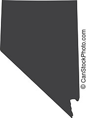 Nevada state map in black on a white background. Vector illustration