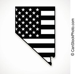 nevada state map with usa flag black and white vector