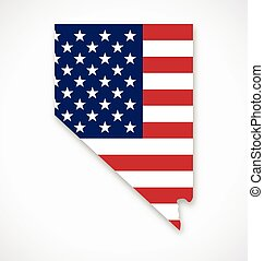 nevada state map with usa flag vector