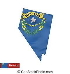 Nevada state map with waving flag of US State.