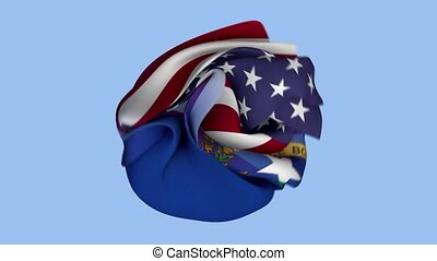 USA Flag. State of Nevada Flag. North America Flags. Celebration. Realistic Animation 4K. Surface Texture. Background Fabric.