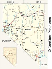Nevada streets and administrative map with interstate US highways and main roads