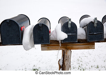 nevada, usa, brievenbussen, met, sneeuw