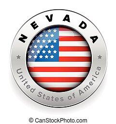 Nevada Usa flag badge button