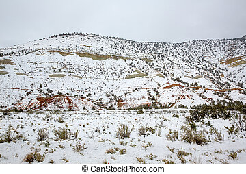 nevada, usa, lente, sneeuw, in de bergen