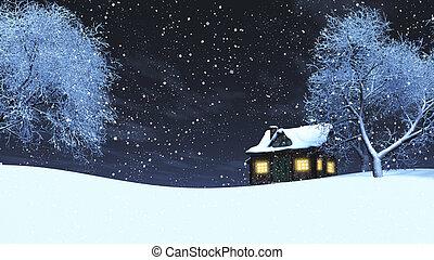 nevado, 3d, paisagem, noturna