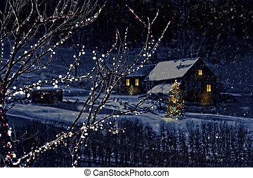 nevado, cena inverno, de, um, cabana, em, distância