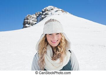 nevado, frente, olá, mulher sorri