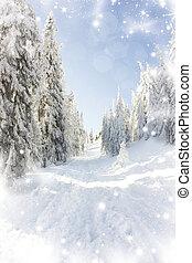 nevado, fundo, árvores abeto, natal