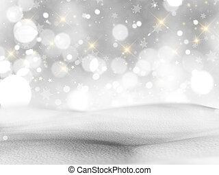 nevado, luzes, bokeh, estrelas, paisagem, 3d