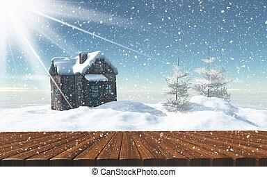 nevado, madeira, olhar, tabela, saída, paisagem, 3d