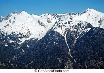 nevado, montanhas, em, a, dolomites