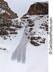 nevado, pedras, e, avalanche
