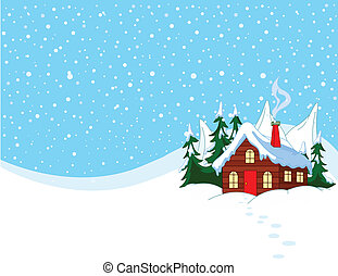 nevado, pequeno, colinas, casa