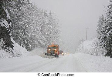 neve, à frente, arado