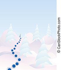 neve, árvores, pinho