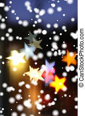 neve, cadere, sopra, sfocato, vacanza, fondo, con, stella-a forma, highlights.