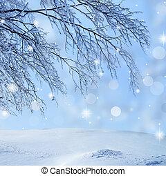 neve coberta, ramo, ligado, brilho, fundo
