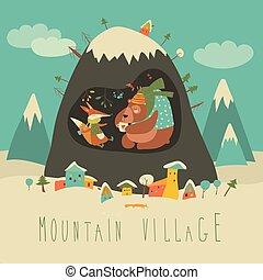 neve coberta, vila, por, a, montanha, com, urso, e, raposa, dentro, a, caverna