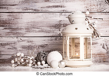neve, cristmas, lanterna