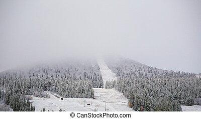 neve, e, nuvens, obscuro, a, vista, ligado, a, montanha, hovaerken, em, suécia