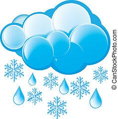 neve, e, pioggia, icona