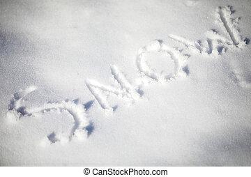 neve, escrito, em, a, neve