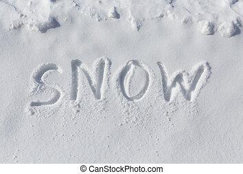 neve, escrito, em, neve