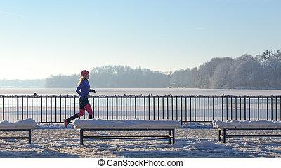 neve, executando, mulher, inverno, jovem