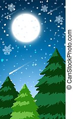 neve, floresta, cena, fundo