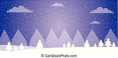 neve, ladscape, floresta árvore, inverno