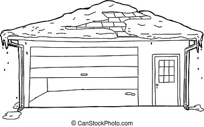 neve, ligado, garagem, com, aderido, porta