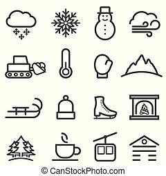 neve, linha, inverno, ícones