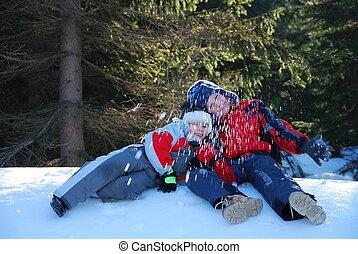 neve, meninos, tocando, dois