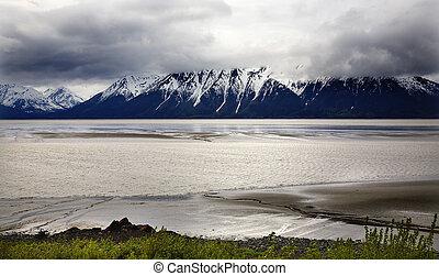 neve, montagna, oceano, seward, autostrada, ancoraggio, alaska