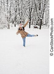 neve, mulher, feliz, divertimento, tendo